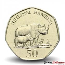 TANZANIE - PIECE de 50 Shilingi - Rhinocéros et son petit - 2015 Km#33