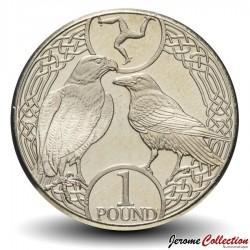 ILE DE MAN - PIECE de 1 Pound - Faucon pèlerin et corbeau - 2017