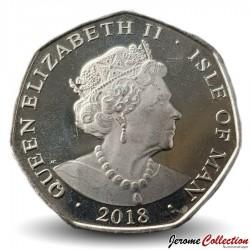 ILE DE MAN - PIECE de 50 Pence - Carrosse du Couronnement de la reine - 2018