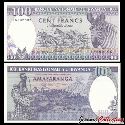 RWANDA - Billet de 100 Francs - Récolte de thé / Zèbre - 24.4.1989