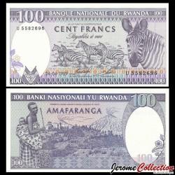 RWANDA - Billet de 100 Francs - Récolte de thé / Zèbre - 24.4.1989 P19a