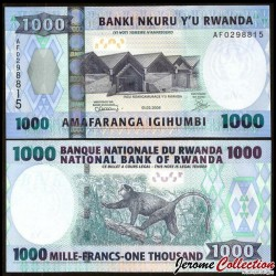 RWANDA - Billet de 1000 Francs - Singe doré - 2008