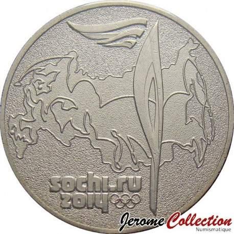 RUSSIE - PIECE de 25 ROUBLES - Torche olympique - 2014 Y#1501