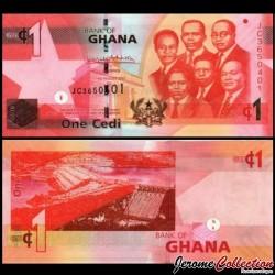 GHANA - Billet de 1 Cedi - Barrage d'Akosombo - 2017 P37g