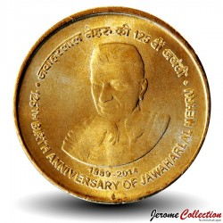 INDE - PIECE de 5 Roupies - Nehru - 2014