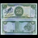 TRINITÉ-ET-TOBAGO - Billet de 5 DOLLARS - Oiseau Motmot - 2006