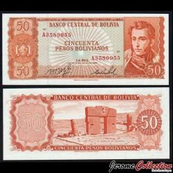 BOLIVIE - Billet de 50 Bolivianos - 1962 P162a19