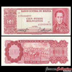 BOLIVIE - Billet de 100 Bolivianos - 1962 P164a2