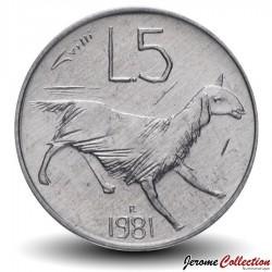 SAINT-MARIN - PIECE de 5 Lires - Chèvre - 1981