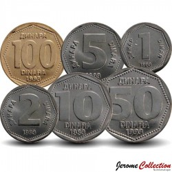 YOUGOSLAVIE - SET / LOT de 5 PIECES de 1 2 5 10 50 100 Dinars - 1993