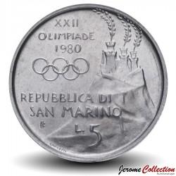 SAINT-MARIN - PIECE de 5 Lires - 1980