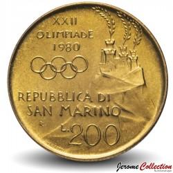 SAINT-MARIN - PIECE de 200 Lires - XXII jeux olympique - 1980