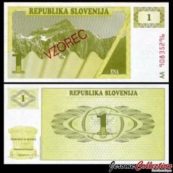 SLOVENIE - Billet de 1 Torlar - 1990 - Mont Triglav - SPECIMEN P1s1