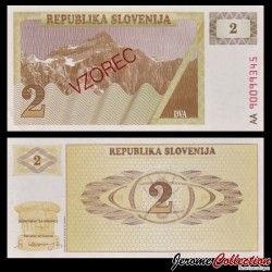 SLOVENIE - Billet de 2 Torlarja - SPECIMEN - 1990 - Mont Triglav P2s1