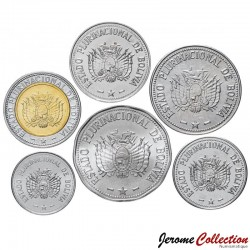 BOLIVIE - SET / LOT de 6 PIECES de 10 20 50 CENTAVOS 1 2 5 BOLIVIANOS - 2012 2017