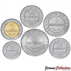 BOLIVIE - SET / LOT de 6 PIECES de 1 10 50 CENTAVOS 1 2 5 BOLIVIANOS - 2010 2012