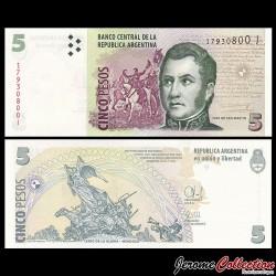 ARGENTINE - Billet de 5 Pesos - Général José de San Martín - 2014 / 2015