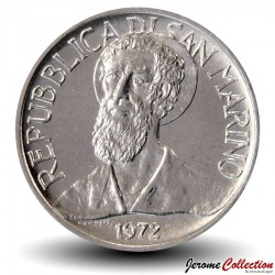 SAINT-MARIN - PIECE de 1 Lire - Portrait de Sanctus Marinus - 1972 Km#14
