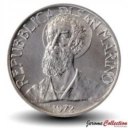 SAINT-MARIN - PIECE de 5 Lires - Portrait de Sanctus Marinus - 1972
