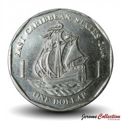"""CARAIBE ORIENTALE - PIECE de 1 Dollar - Bateau """"Golden Hind"""" - 2004 Km#39"""
