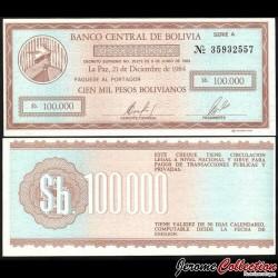 BOLIVIE - Billet de 100000 Pesos Bolivianos - 1984 P188a