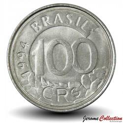 BRESIL - PIECE de 100 Cruzeiros reais - Loup - 1994