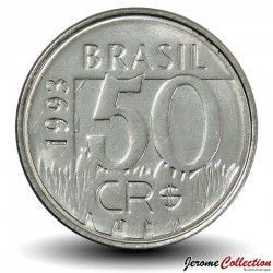 BRESIL - PIECE de 50 Cruzeiros reais - Jaguar - 1993