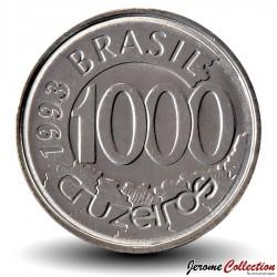 BRESIL - PIECE de 1000 Cruzeiros - Poissons acará - 1993