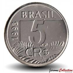 BRESIL - PIECE de 5 Cruzeiros reais - Ara - 1993