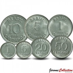 BRESIL - SET / LOT de 8 PIÈCES - 1 5 10 20 50 Centavos 1 5 10 Cruzados - 1986 1987 1988