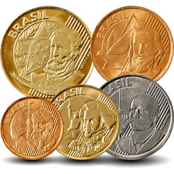 BRESIL - SET / LOT de 5 PIECES de 1 5 10 25 50 CENTAVOS - 2004 2011 2013 2014 2015 Km#647 648 649 650 651