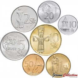 SLOVAQUIE - SET / LOT de 7 PIECES de 10 20 50 Halierov 1 2 5 10 10 Koruna - 1993 1999 2003 2005 2007 Km#11 12 13 14 17 18 35