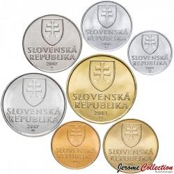 SLOVAQUIE - SET / LOT de 7 PIECES de 10 20 50 Halierov 1 2 5 10 10 Koruna - 1993 1999 2003 2005 2007