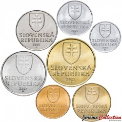 SLOVAQUIE - SET / LOT de 7 PIECES de 10 20 50 Halierov 1 2 5 10 10 Koruna - 1993 1999 2003 2005 2007
