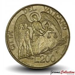 VATICAN - PIECE de 200 Lires - Ange gardien - 1997