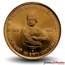 INDE - PIECE de 5 Roupies - 150 ans de la naissance de Swami Vivekananda - 2013 Km#423