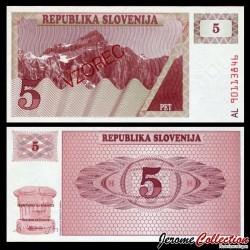 SLOVENIE - Billet de 5 Tolarjev - 1990 - Mont Triglav - SPECIMEN P3s1