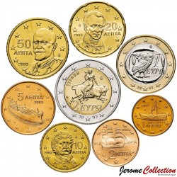 GRECE - SET / LOT de 8 PIECES de 1 2 5 10 20 50 Cents - 1 2 Euro - 2002 2003 Km#180 181 182 183 184 185 186 187