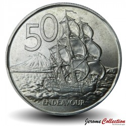 NOUVELLE ZELANDE - PIECE de 50 Cents - Le bateau Endeavour - 1972 Km#37