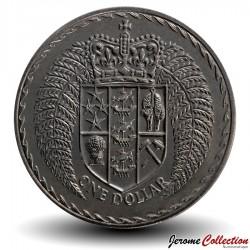 NOUVELLE ZELANDE - PIECE de 1 Dollar - Système décimal - 1972 Km#38