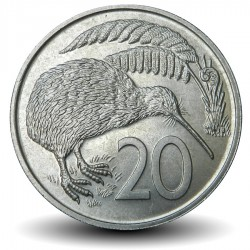 NOUVELLE ZELANDE - PIECE de 20 Cents - Oiseau KIwi - 1972 Km#36