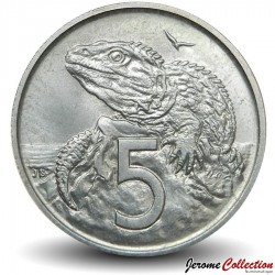 NOUVELLE ZELANDE - PIECE de 5 Cents - Réptile sphénodon - 1972 Km#34
