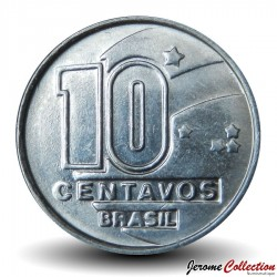 BRESIL - PIECE de 10 Centavos - Série métiers : Prospecteur de diamants - 1990