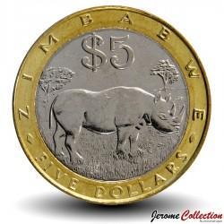 ZIMBABWE - PIECE de 5 Dollars - Rhinocéros noir - 2002 Km#13