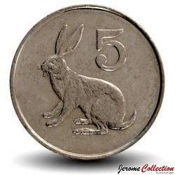 ZIMBABWE - PIECE de 5 Cents - Lièvre des buissons - 1997