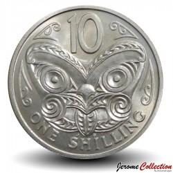 NOUVELLE ZELANDE - PIECE de 10 Cents / 1 Shilling - masque Maori - 1973 Km#41