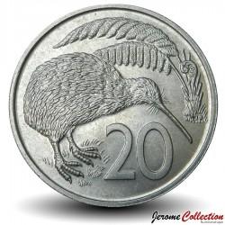 NOUVELLE ZELANDE - PIECE de 20 Cents - Oiseau KIwi - 1973 Km#36