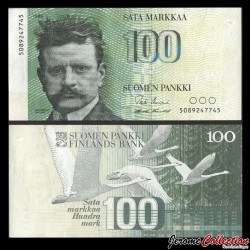 FINLANDE - Billet de 100 MARKKAA - Jean Sibelius - 1986 P115a1