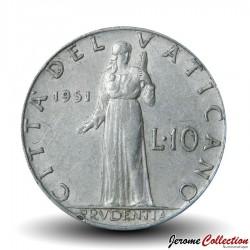 VATICAN - PIECE de 10 Lires - Prvdentia - 1951
