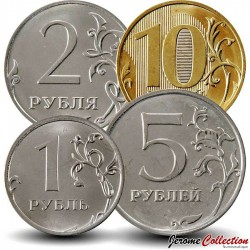RUSSIE - SET / LOT de 4 PIECES de 1 2 5 10 Roubles - 2016